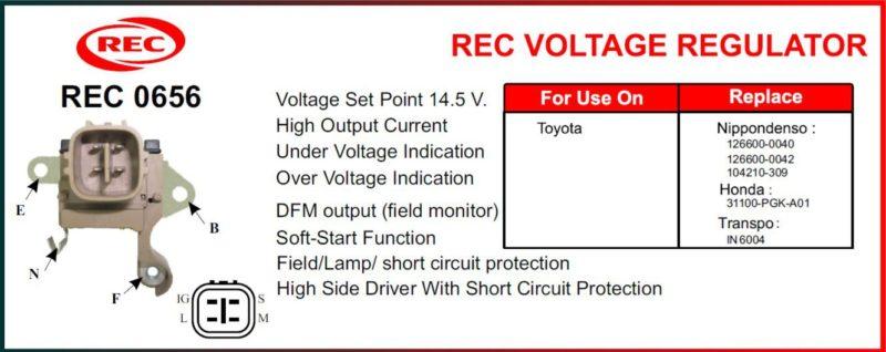 Tiết chế máy phát điện TOYOTA 12V, 126600-0040, 126600-0042, 104210-309, 31100PGK-A01, IN6004