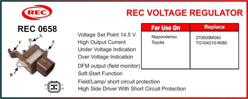 Tiết chế máy phát điện TOYOTA, DENSO 12V, TG104210-9080, 270600M040