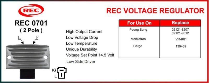 Tiết chế máy phát điện POONG SUNG, MOBILETRON, CARGO 12V, 2 chân, 02121-8207, 02121-0912, VR-K01, 139469