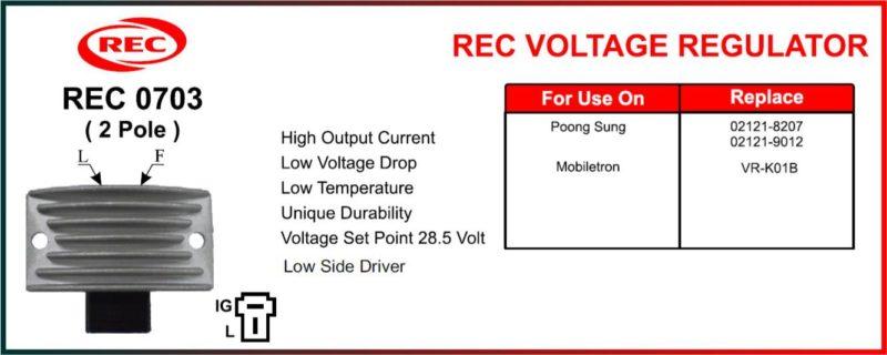 Tiết chế máy phát điện POONG SUNG, MOBILETRON 24V, 2 chân, 02121-8207, 02121-0912, VR-K01