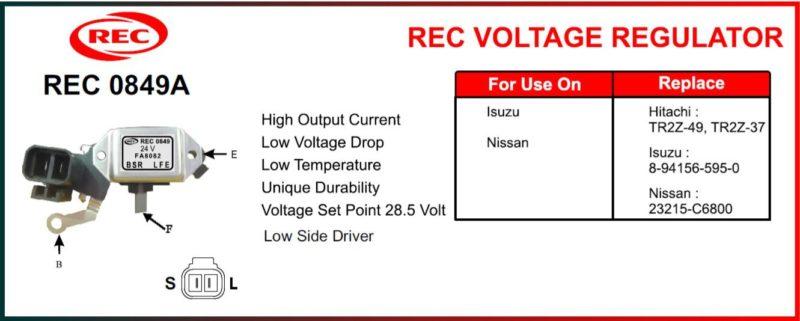 Tiết chế máy phát điện ISUZU, NISSAN 24V, 5 chân, TR2Z-49, TR2Z-37, 8-94156-595-0, 23215-C6800