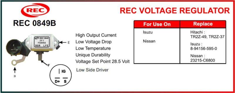 Tiết chế máy phát điện ISUZU, NISSAN 24V, chân B, F, E, IG, S, TR2Z-49, TR2Z-37, 8-94156-595-0, 23215-C6800