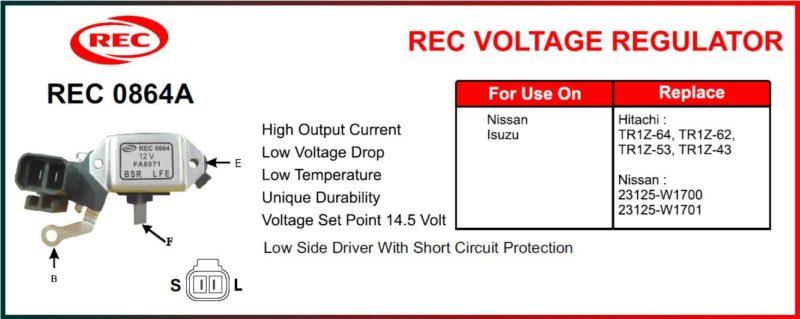 Tiết chế máy phát điện ISUZU, NISSAN 12V, chân B, S, L, F, E, TR1Z-64, TR1Z-62, TR1Z-53, TR1Z-43, 23125-W1700, 23125-W1701