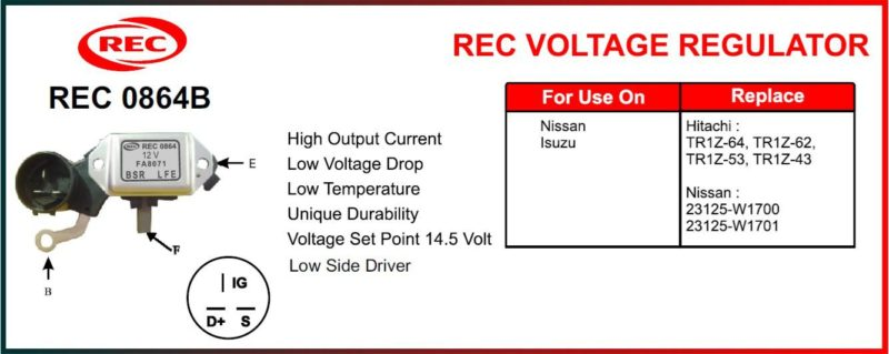 Tiết chế máy phát điện ISUZU, NISSAN 12V, chân B, S, IG, F, E, TR1Z-64, TR1Z-62, TR1Z-53, TR1Z-43, 23125-W1700, 23125-W1701