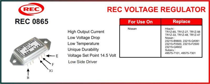 Tiết chế máy phát điện NISSAN, HITACHI, SUBARU 12V, TR1Z-65, TR1Z-27, TR1Z-56, TR1Z-33, TR1Z-48, TR1Z-47, 23125-B9800, 23125-Q4061, 23125-P2500, 23125-F2500, 23125-Q4602, 49575-7101, 49575-7301