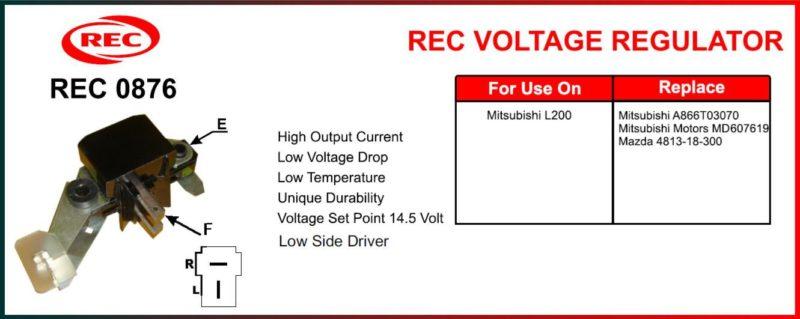 Tiết chế máy phát điện MITSUBISHI L200, MAZDA 12V, A866T03070, MD607619, 4813-18-300