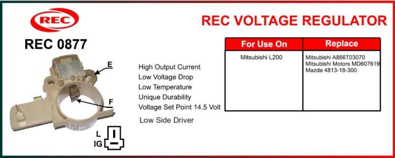 Tiết chế máy phát điện MITSUBISHI L200, MAZDA 12V, chân IG, L, F, E, A866T03070, MD607619, 4813-18-300
