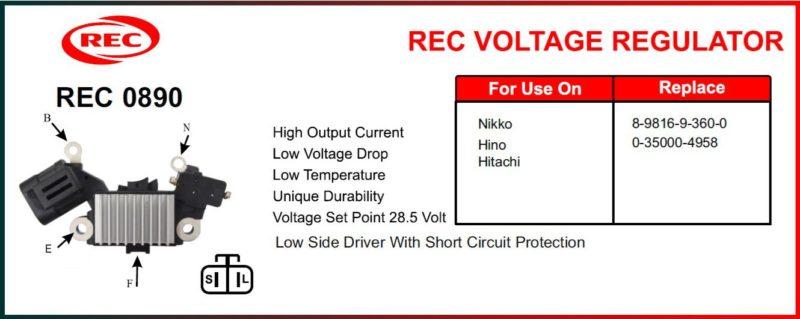 Tiết chế máy phát điện HINO, HITACHI, NIKKO 24V, 8-9816-9-360-0, 0-35000-4958