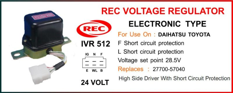 Tiết chế điện tử máy phát điện TOYOTA, DAIHATSU 24V, 27700-57040