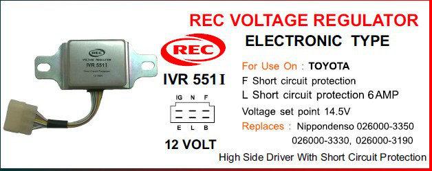 Tiết chế điện tử máy phát điện TOYOTA 12V, 026000-3350, 026000-3330, 026000-3190