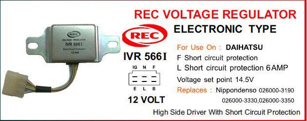 Tiết chế điện tử máy phát điện DAIHATSU 12V, 026000-3350, 026000-3330, 026000-3190