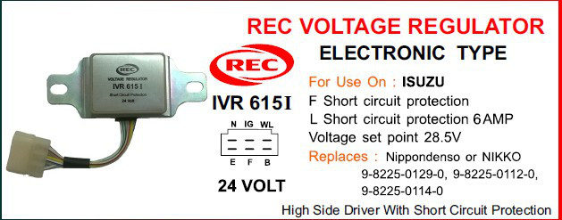 Tiết chế điện tử máy phát điện ISUZU 24V, 9-8225-0129-0, 9-8225-0112-0, 9-8225-0114-0