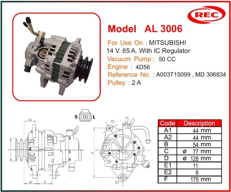 Máy phát điện ô tô MITSUBISHI 14V-65A, puly 2A, A003T15099, MD306834