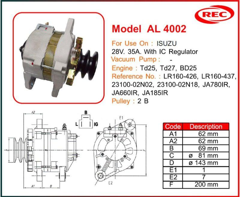 Máy phát điện ô tô ISUZU 24V-35A, puly 2B, LR160-426, LR160-437, 23100-02N02, 23100-02N18, JA780IR, JA660IR, JA185IR
