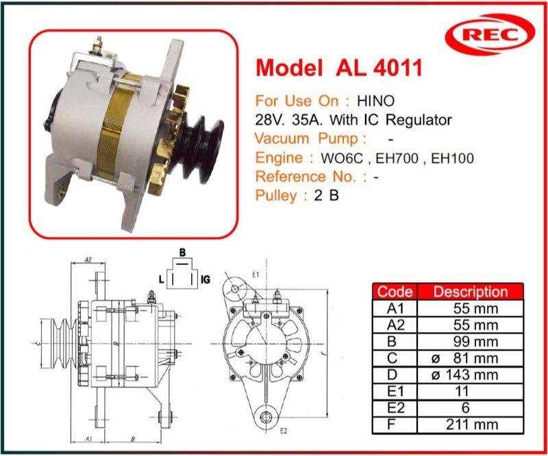 Máy phát điện xe HINO 24V-35A, puly 2B