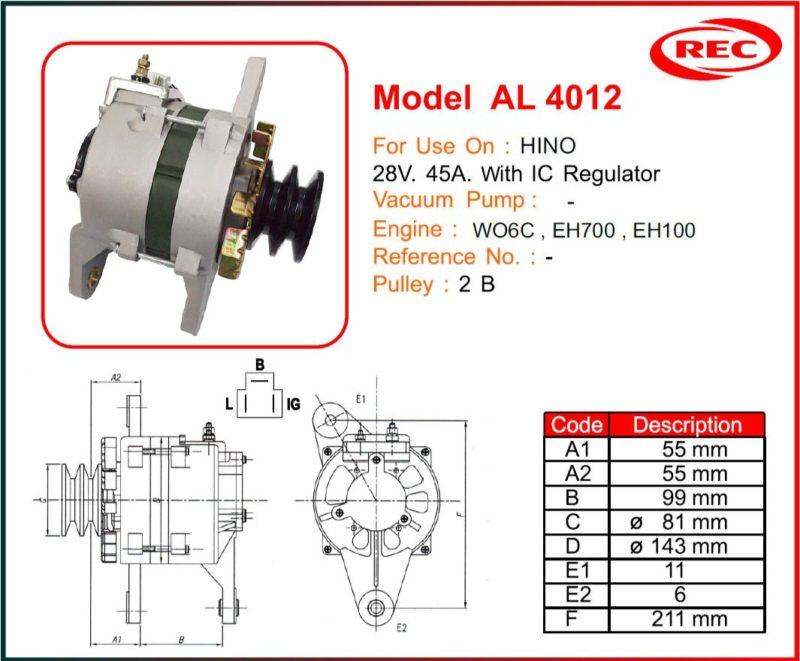 Máy phát điện xe HINO 24V-45A, puly 2B