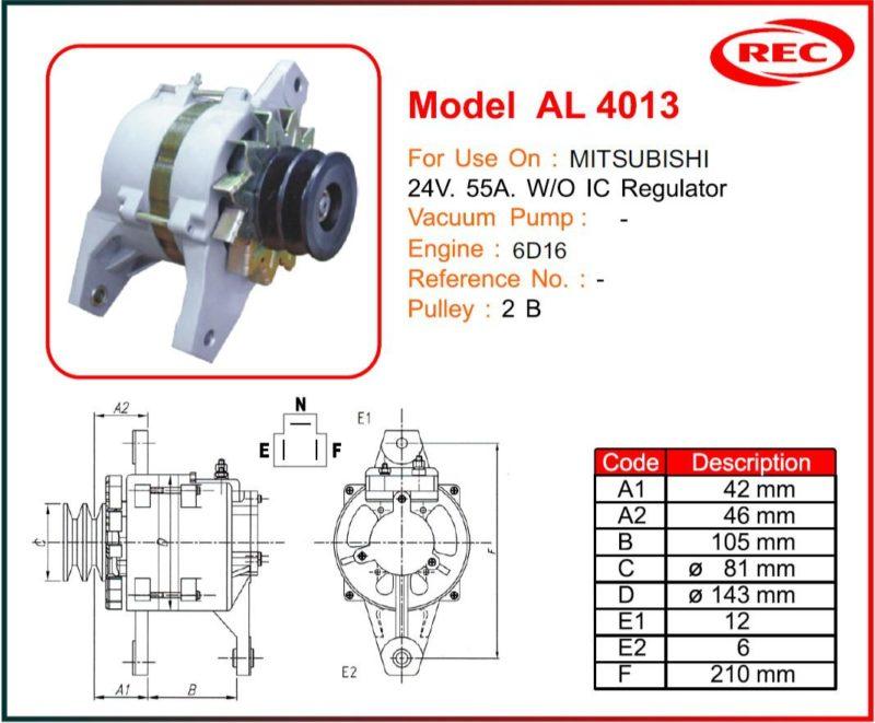 Máy phát điện ô tô MITSUBISHI 24V-55A, không tiết chế IC, puly 2B