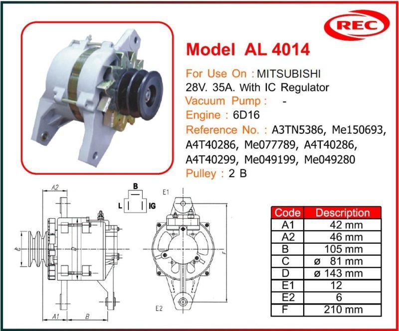 Máy phát điện ô tô MITSUBISHI 24V-35A, puly 2B, A3TN5386, ME150693, A4T40286, ME077789, A4T40286, A4T40299, ME049199, ME049280