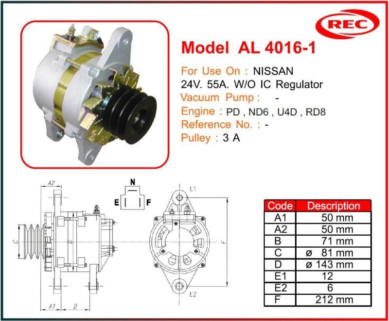 Máy phát điện ô tô NISSAN 24V-55A, không tiết chế IC, puly 3A
