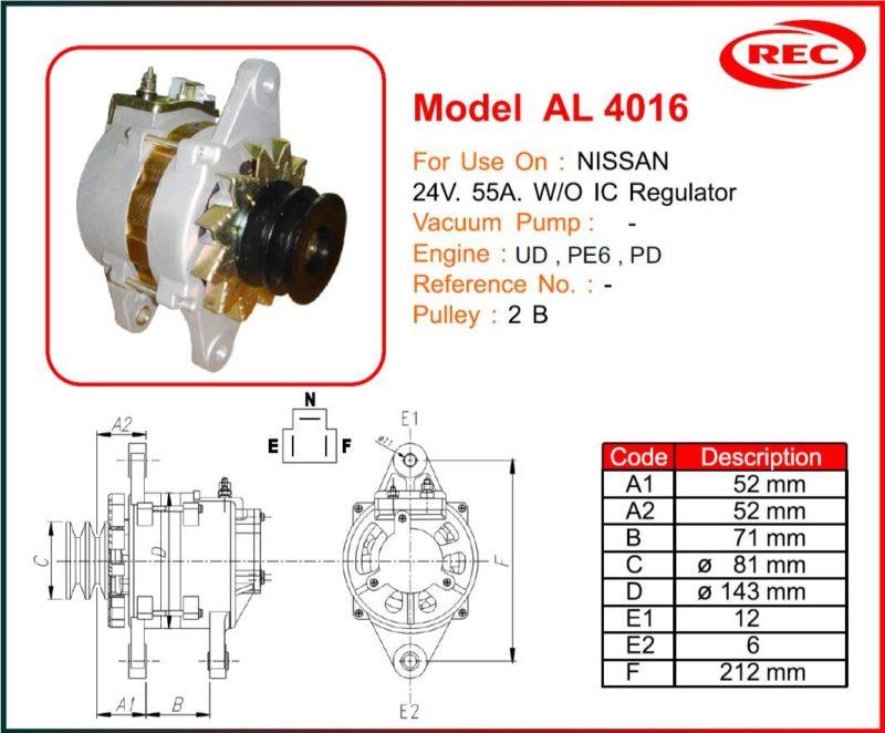 Máy phát điện ô tô NISSAN 24V-55A, không tiết chế IC, puly 2B