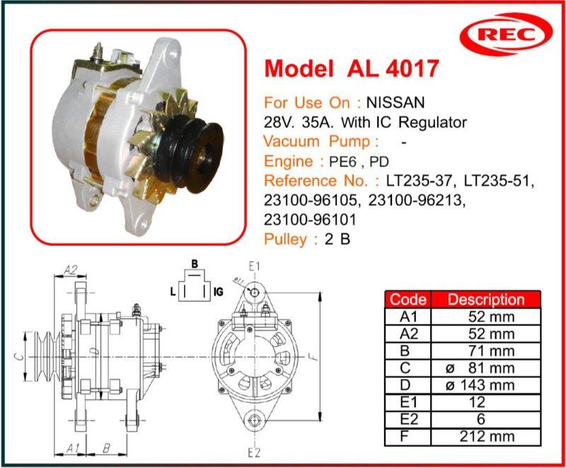 Máy phát điện ô tô NISSAN 24V-35A, puly 2B, LT235-37, LT235-51, 23100-96105, 23100-96213, 23100-96101