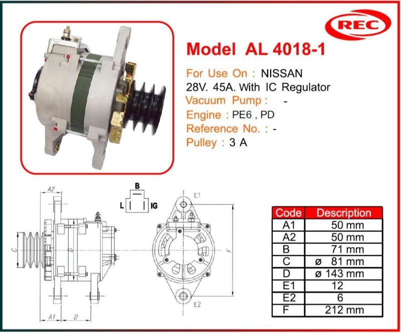 Máy phát điện ô tô NISSAN 24V-45A, puly 3A