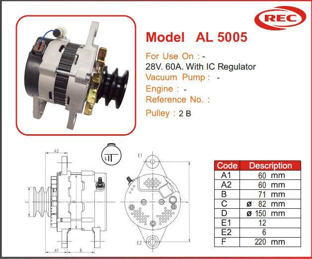 Máy phát điện xe ô tô 24V-60A, puly 2B
