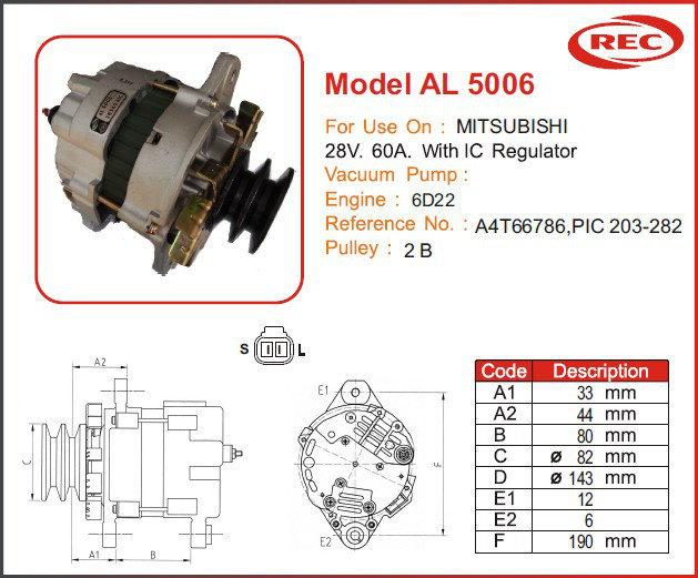 Máy phát điện ô tô MITSUBISHI 24V-60A, puly 2B, A4T66786, PIC203-282