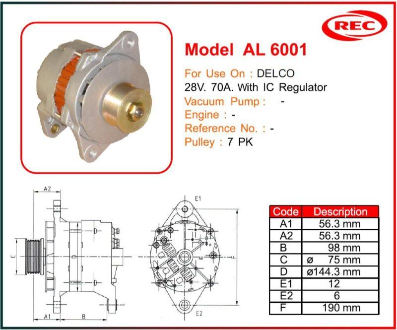 Máy phát điện xe DELCO 24V-70A, puly 7PK
