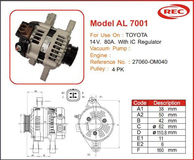 Máy phát điện ô tô TOYOTA 12V-80A, puly 4pk, 27060-OM040
