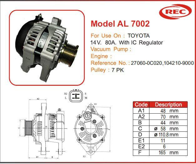 Máy phát điện ô tô TOYOTA 12V-80A, puly 7pk, 27060-0C020, 104210-9000