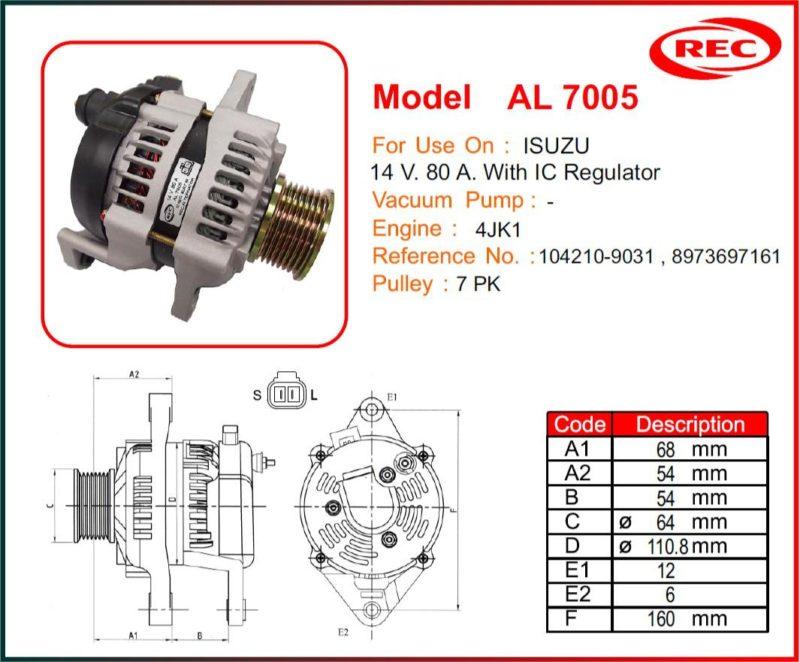 Máy phát điện ô tô ISUZU 12V-80A, puly 7pk, 104210-9031, 8973697161