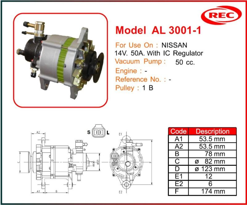 Máy phát điện ô tô Nissan 12V-50A, puly 1B