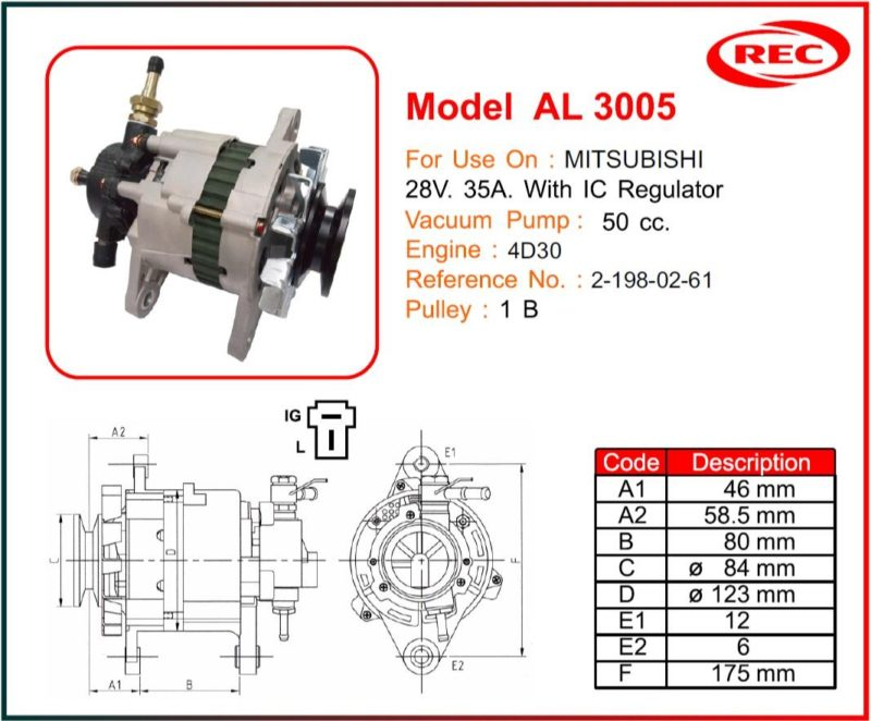 Máy phát điện ô tô MITSUBISHI 24V-35A, puly 1B, 2-198-02-61
