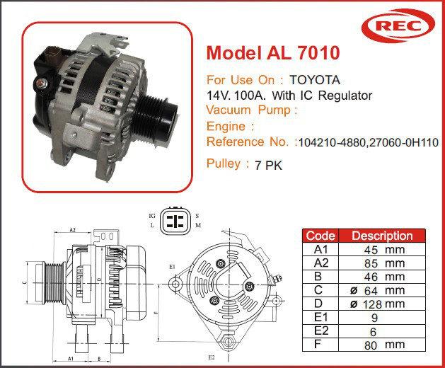 Máy phát điện ô tô TOYOTA 12V-100A, puly 7pk, 104210-4880, 27060-0H110
