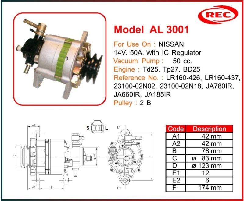 Máy phát điện ô tô Nissan 12V-50A, puly 2B, LR160-426, LR160-437, 23100-02N02, 23100-02N18, JA780IR, JA660IR, JA185IR